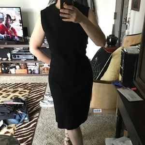 Vintage 60's Black Wool Sleeveless Dress.